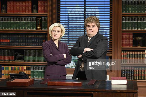 LIVE 'Aziz Ansari' Episode 1716 Pictured Kate McKinnon as Lisa Broderick and Bobby Moynihan as Jeremy Ganz during the 'Attorney Ad' sketch on January...