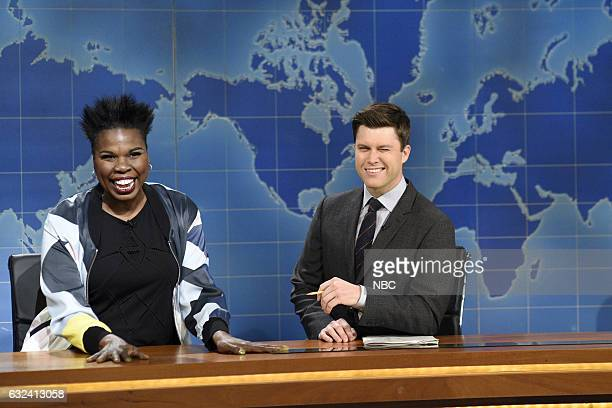 LIVE 'Aziz Ansari' Episode 1716 Pictured Leslie Jones and Colin Jost during Weekend Update on January 21st 2017