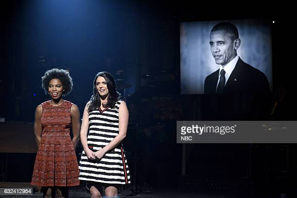 LIVE 'Aziz Ansari' Episode 1716 Pictured Sasheer Zamata and Cecily Strong during the 'To Sir with Love' song on January 21st 2017