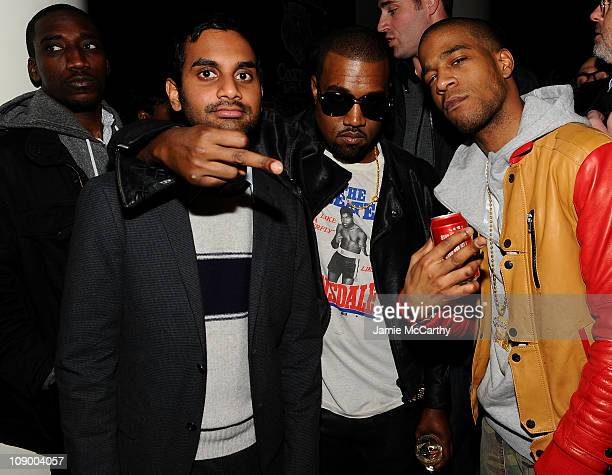 Aziz Ansari Kanye West and Kid Cudi attend the Best New Menswear Designers in America Fall 2011 Collections presented by GQ and CFDA at the Ace Hotel...