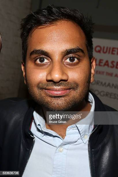 Aziz Ansari poses backstage at the hit play 'Eclipsed' on Broadway at The Golden Theatre on May 22 2016 in New York New York