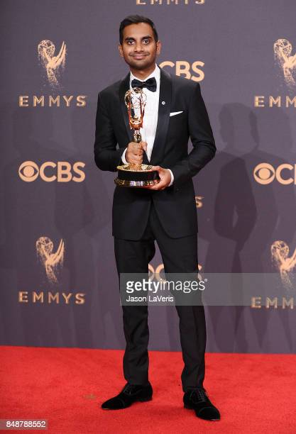 Aziz Ansari poses in the press room at the 69th annual Primetime Emmy Awards at Microsoft Theater on September 17 2017 in Los Angeles California