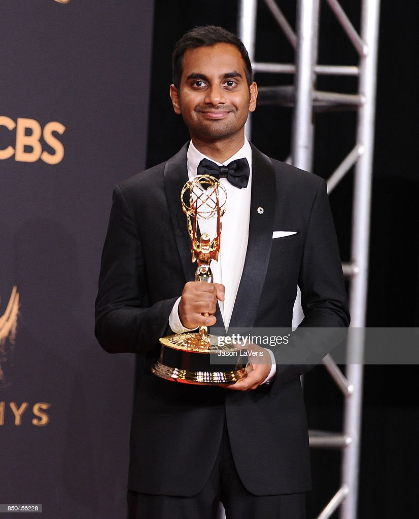 Aziz Ansari poses in the press room at the 69th annual Primetime Emmy Awards at Microsoft Theater on September 17, 2017 in Los Angeles, California.