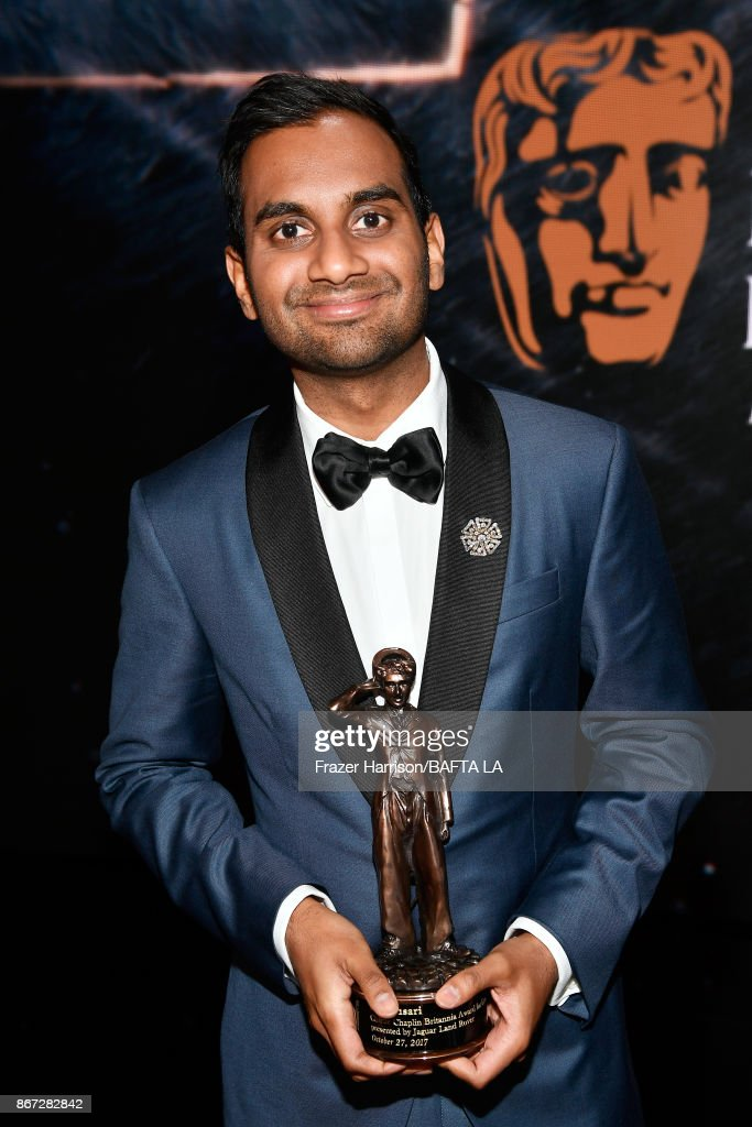 Aziz Ansari, recipient of the Charlie Chaplin Britannia Award for Excellence In Comedy presented by Jaguar Land Rover, at the 2017 AMD British Academy Britannia Awards Presented by American Airlines And Jaguar Land Rover at The Beverly Hilton Hotel on October 27, 2017 in Beverly Hills, California.