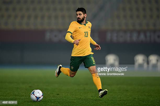 Aziz Behic of Australia controls the ball during the International Friendly match between Macedonia and Australia on March 30 2015 in Skopje Macedonia