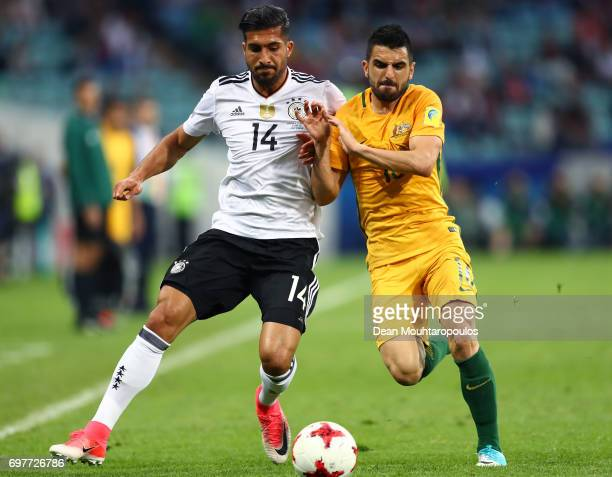 Aziz Behich of Australia and Emre Can of Germany battle for possession during the FIFA Confederations Cup Russia 2017 Group B match between Australia...