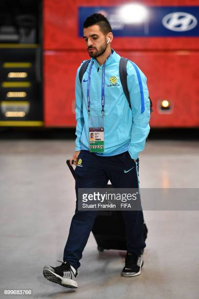Aziz Behich of Australia arrives at the stadium prior to the FIFA Confederations Cup Russia 2017 Group B match between Cameroon and Australia at...