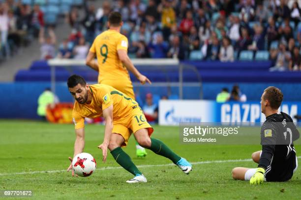 Aziz Behich of Australia collects the bal after Tomi Juric of Australia scores their sides second goal during the FIFA Confederations Cup Russia 2017...