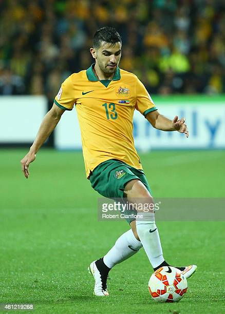 Aziz Behich of Australia controls the ball during the 2015 Asian Cup match between the Australian Socceroos and Kuwait at AAMI Park on January 9 2015...