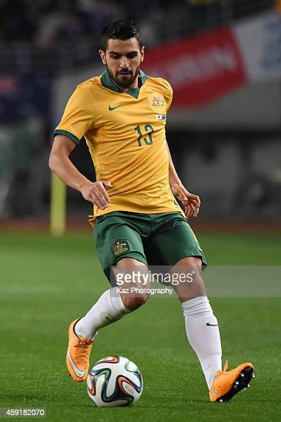 Aziz Behich of Australia keeps the ball during the international friendly match between Japan and Australia at Nagai Stadium on November 18 2014 in...