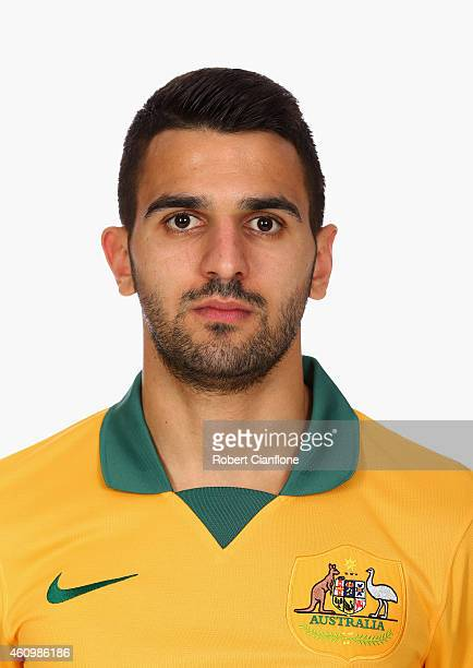Aziz Behich of Australia poses during an Australian Socceroos headshot session at the InterContinental Hotel on January 3 2015 in Melbourne Australia