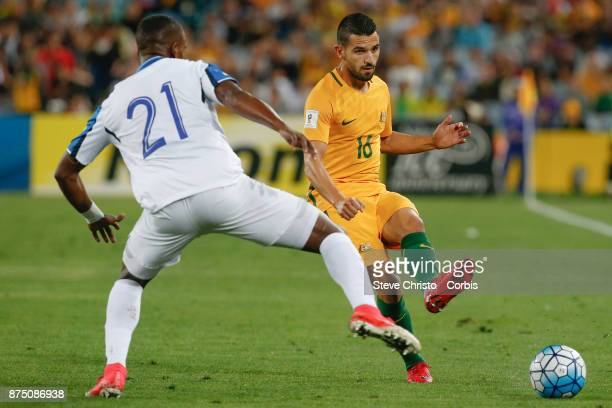 Aziz Behich of the Australia passes the ball during the 2nd leg of the 2018 FIFA World Cup Qualifier between the Australia and Honduras at Stadium...