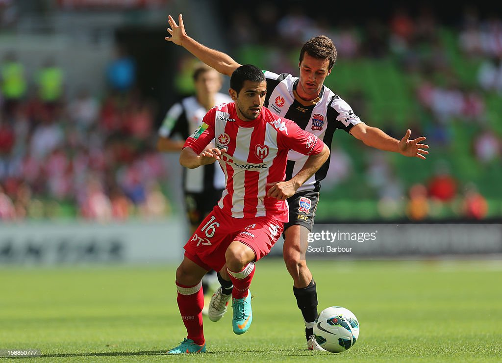 Aziz Behich of the Heart controls the ball during the round 14 A-League match between Melbourne Heart and the Newcastle Jets at AAMI Park on January 1, 2013 in Melbourne, Australia.