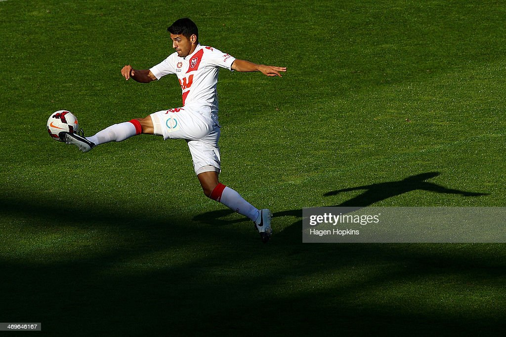 Aziz Behich of the Heart controls the ball during the round 19 ALeague match between Wellington Phoenix and Melbourne Heart at Westpac Stadium on...