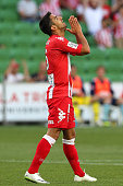 Aziz Behich of the Heart looks dejected after a missed attempt on goal during the round 17 ALeague match between Melbourne Heart and Sydney FC at...