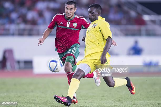 Aziz Bouhaddouz of Morocco Jordao Encarnacao Tackey Diogo of Sao Tome e Principe during the Africa Cup of Nations match between Morocco and Sao Tome...