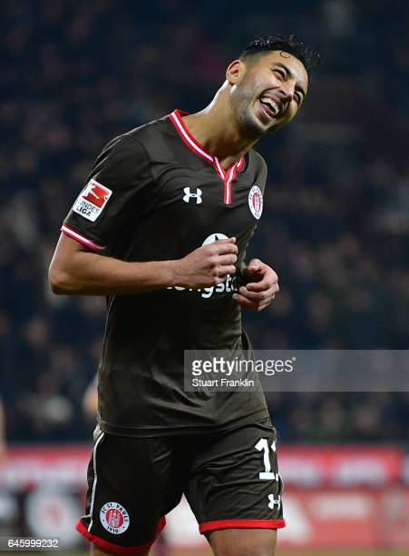 Aziz Bouhaddouz of St Pauli celebrates scoring the fifth goal during the Second Bundesliga match between FC St Pauli and Karlsruher SC at Millerntor...