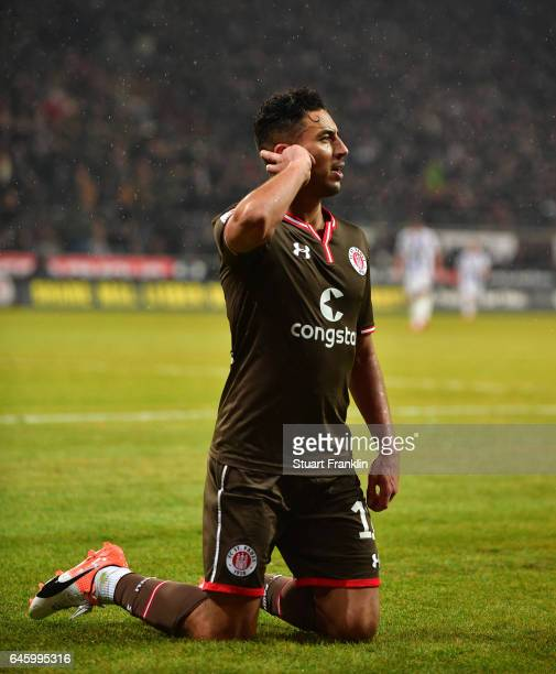 Aziz Bouhaddouz of St Pauli celebrates scoring the fourth goal during the Second Bundesliga match between FC St Pauli and Karlsruher SC at Millerntor...
