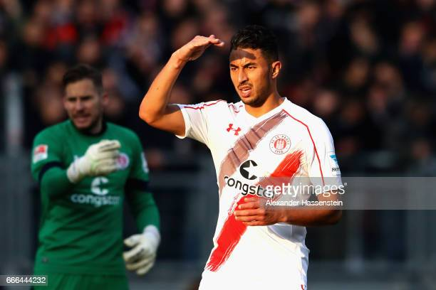 Aziz Bouhaddouz of St Pauli looks on during the Second Bundesliga match between 1 FC Nuernberg and FC St Pauli at Arena Nuernberg on April 7 2017 in...