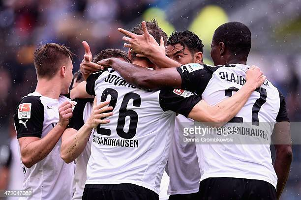 Aziz Bouhaddouz of SV Sandhausen celebrates as he scores their first goal during the Second Bundesliga match between SV Sandhausen and 1 FC...