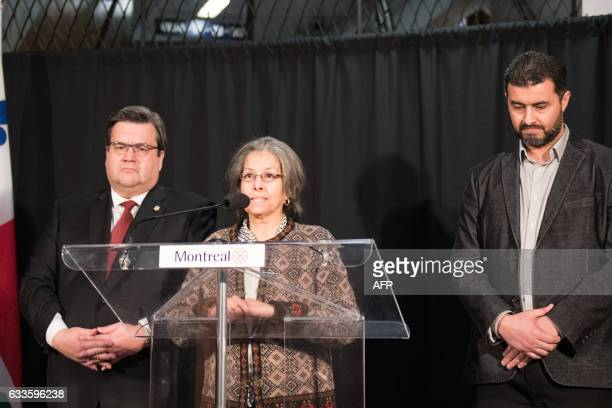 Aziza Blili of the Canadians Muslim Federation speaks as Denis Coderre the mayor of Montreal and Marouan Hamdi the coordinator of the Badr Islamic...