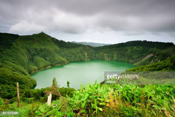 Azores landscape with the lagoon of Santiago