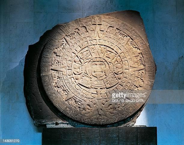 Aztec Calendar known as Stone of the Sun Artifact originating from Tenochtitlan Aztec Civilization Kingdom of Montezuma 16th Century Mexico City...