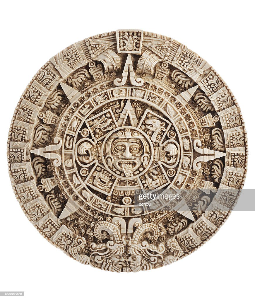 'Aztec calendar, Stone of the sun, Mexico, clipping path included'