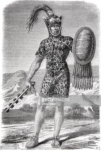 Aztec Chief of a Hundred Men Wearing Jaguar Skin Costume with Shield and Baton Encrusted with Blades Aztec Empire Mexico