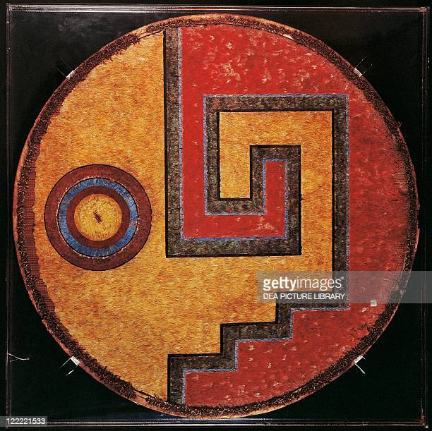 Aztec civilization Mexico Feather shield with a linear meander design incorporating eye motifs From the Mexican Altiplano