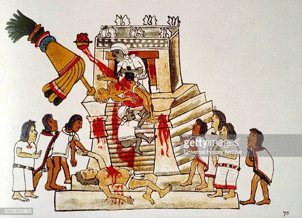 Aztec priest performing the sacrificial offering of a living human's heart to the war god Huitzilopochtli Codex Magliabecchi 16th century Aztec