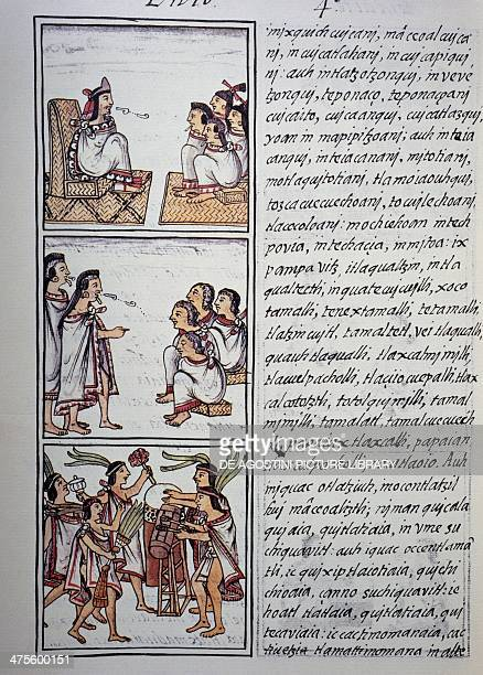 Aztec society the king and his court the provisions of the judges dancers and musicians page from Book IV of the Florentine Codex bilingual version...