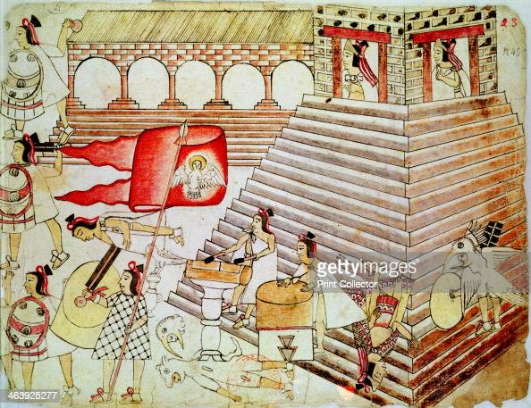Aztec warriors defending the temple of Tenochtitlan against conquistadors 15191521 Hernando Cortes Spanish conquistador led an expedition to Mexico...
