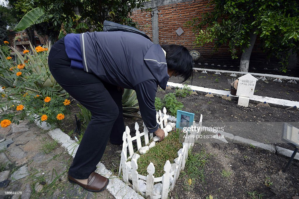 Azucena Olvera decorates the grave of her dog at the pet cemetery in Corregidora, State of Queretaro, Mexico on November 2, 2013 during the commemoration of the Day of the Dead. The traditional Mexican holiday honors the dead and is celebrated annually.