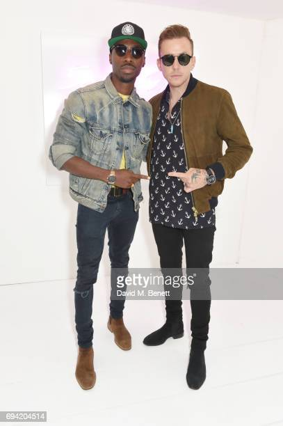 Azuka Ononye and Danny Jones attend the Oliver Spencer SS18 Catwalk Show during London Fashion Week Men's June 2017 on June 9 2017 in London England