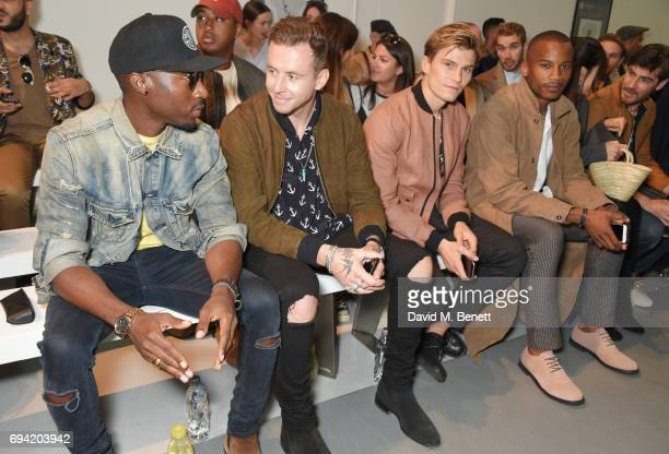 Azuka Ononye Danny Jones Oliver Cheshire Eric Underwood and Robert Konjic attends the Oliver Spencer SS18 Catwalk Show during London Fashion Week...