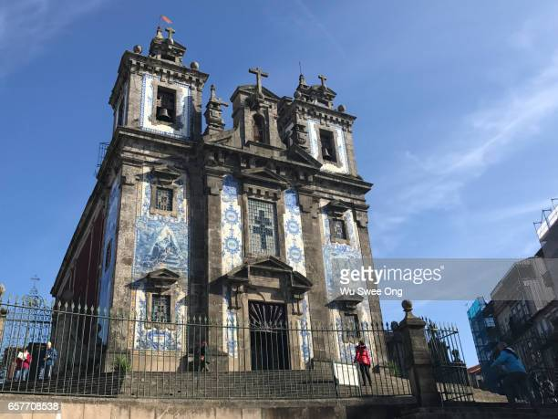 Azulejo covered facade of the Church of Ildefonso