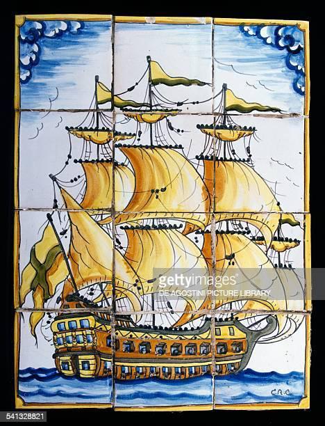 Azulejos depicting threemasted galleon made by Jose Antonio Ortega and El Lledoner 's workshop Spain 20th century