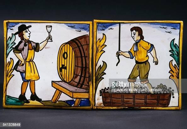 Azulejos depicting work in the vineyard tasting wine from the barrel and grape pressing made by Jose Antonio Ortega and El Lledoner 's workshop Spain...