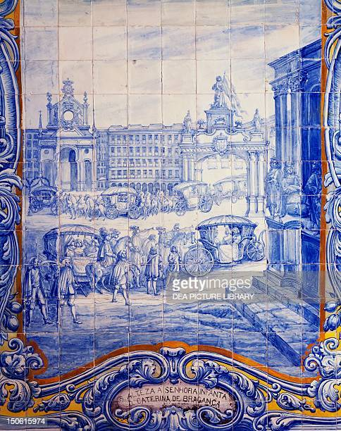 Azulejos tiles depicting the celebration that took place in Lisbon April 23 1662 for the marriage of the Infanta Catherine of Braganza to Charles II...