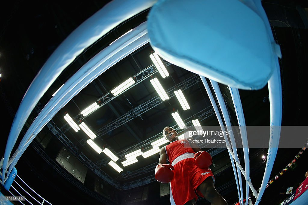 Azumah Mohammed of Ghana walks to a corner during the Men's Welter 69kg preliminaries at Scottish Exhibition And Conference Centre during day two of the Glasgow 2014 Commonwealth Games on July 25, 2014 in Glasgow, United Kingdom.