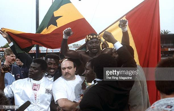 Azumah Nelson celebrates winning the fight against Jeff Fenech during the fight at Princes Park Football Ground in Melbourne Australia Azumah Nelson...