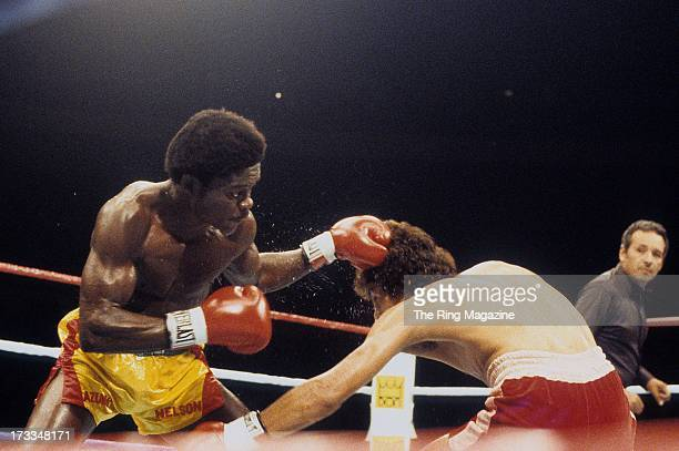 Azumah Nelson lands a punch against Salvador Sanchez during the fight at Madison Square Garden in New York New York Salvador Sanchez won the WBC...
