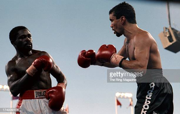 Azumah Nelson looks to block Jeff Fenech during the fight at the Mirage Hotel Casino in Las Vegas Nevada The WBC super featherweight title fights...