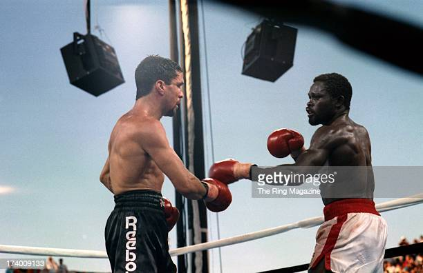 Azumah Nelson looks to throw a punch against Jeff Fenech during the fight at the Mirage Hotel Casino in Las Vegas Nevada The WBC super featherweight...