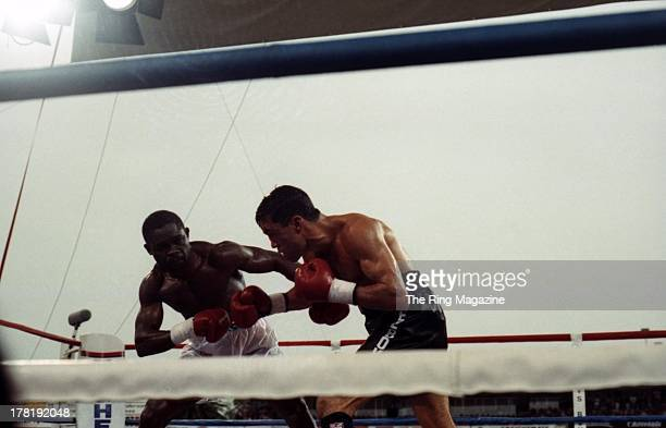 Azumah Nelson looks to throw a punch against Jeff Fenech during the fight at Princes Park Football Ground in Melbourne Australia Azumah Nelson won...