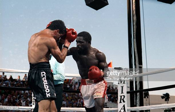 Azumah Nelson throws a punch against Jeff Fenech during the fight at the Mirage Hotel Casino in Las Vegas Nevada The WBC super featherweight title...
