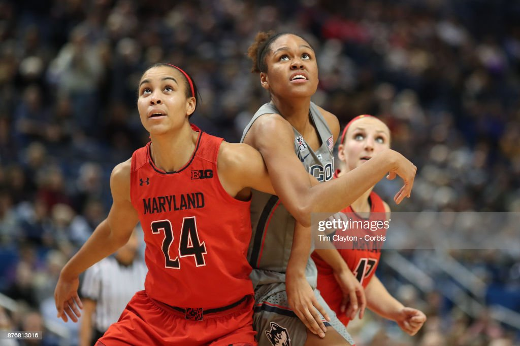 Azura Stevens #23 of the Connecticut Huskies and Stephanie Jones #24 of the Maryland Terrapins challenge for position during a free throw during the the UConn Huskies Vs Maryland Terrapins, NCAA Women's Basketball game at the XL Center, Hartford, Connecticut. November 19th, 2017