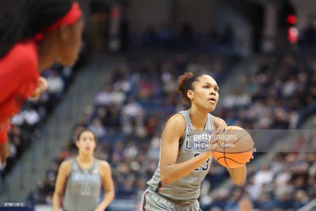 Azura Stevens #23 of the Connecticut Huskies in action during the the UConn Huskies Vs Maryland Terrapins, NCAA Women's Basketball game at the XL Center, Hartford, Connecticut. November 19th, 2017