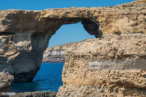 Azure Window Rock Formation Against Blue Sky, Gozo, Malta